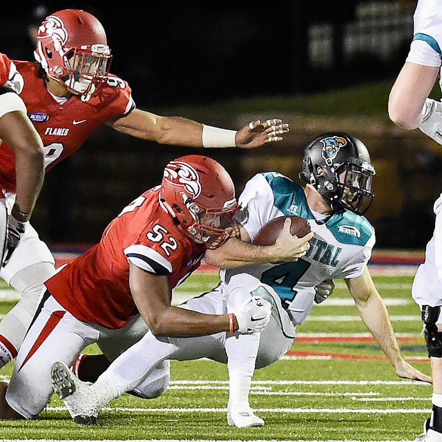 Uzowihe named Big South Defensive Player of the Year, 11 Flames Named All-Conference