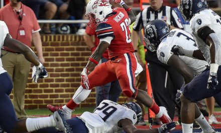 North Texas leads Liberty 21-7 in lightning delay